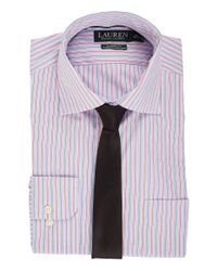 Lauren by Ralph Lauren Blue Non Iron Poplin Stretch Classic Fit Spread Collar Stripe Dress Shirt for men