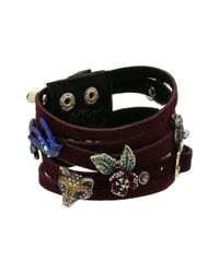 Betsey Johnson - Metallic Burgundy And Gold Multi-row Bracelet - Lyst