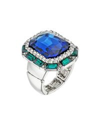 Guess - Multicolor Large Faceted Stone Cocktail Ring - Lyst