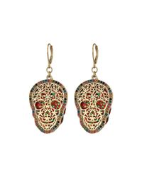 Betsey Johnson - Metallic Gold Skull Drop Earrings - Lyst