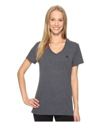 Adidas - Gray Ultimate V-neck Tee (dark Grey Heather/black) Women's Short Sleeve Pullover - Lyst