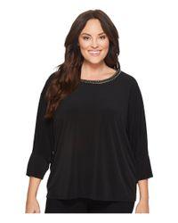 Calvin Klein Black Plus Size Long Sleeve Top W/ Gold Chain
