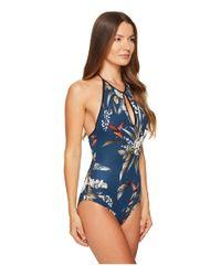 Fuzzi Blue One-piece Hummingbird Cut Out Bathing Suit