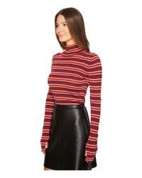 Sonia Rykiel Red Striped Wool Turtleneck Sweater