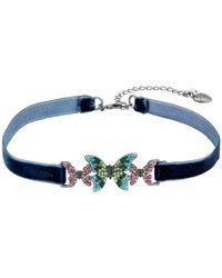 Betsey Johnson - Multicolor Butterfly Choker Necklace - Lyst