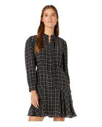 Rebecca Taylor Black Long Sleeve Plaid Silk Dress