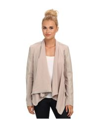 Blank NYC - Brown Draped Vegan Leather And Ponte Jacket In Taupe - Lyst