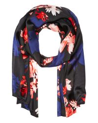 Vince Camuto | Black Brushed Floral Oblong Scarf | Lyst