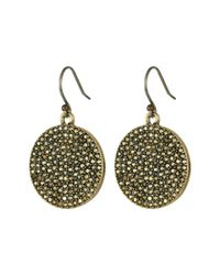 Lucky Brand Metallic Gold Pave Disk Earring
