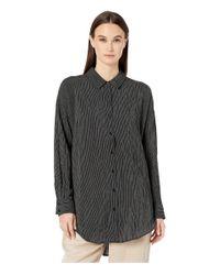 Eileen Fisher Black Organic Cotton Crinkle Classic Collar Boxy Shirt