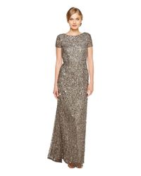 Adrianna Papell Gray Cap Sleeve Scoop Back Beaded Down Gown (lead) Dress