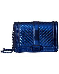 Rebecca Minkoff Blue Chevron Quilted Small Love Crossbody (doe) Cross Body Handbags