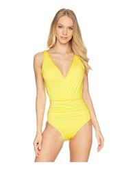 Jantzen Yellow Solid Draped One-piece (go Bananas) Women's Swimsuits One Piece