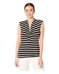 Vince Camuto Black Sleeveless Cf Cinched V-neck Shadow Stripe Top