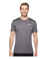 Nike Gray Cool Miler Short-sleeve Running Top (anthracite/heather/anthracite) Clothing for men