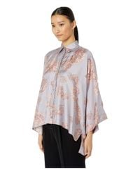 Versace Blue Shirts - Rosa + Stampa Button Up Blouse