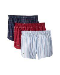 Lacoste Red 3-pack Woven Signature Print/stripe (cashmere Blue/high-rise/black) Men's Underwear for men