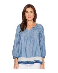 Dylan By True Grit Blue Luxe Denim Double Cloth Pintuck Blouse With Border And Fringe (denim) Blouse