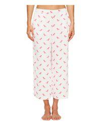 Kate Spade White Robin Print Cropped Pajama Set