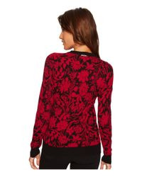 MICHAEL Michael Kors - Red Garden Galore Print Sweater Top - Lyst