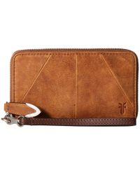 Frye Brown Jacqui Zip Around Leather Wallet
