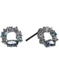 Swarovski Blue Attract Circle Stud Pierced Earrings