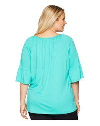 MICHAEL Michael Kors Blue Plus Size Gathered Sleeve Peasant Top