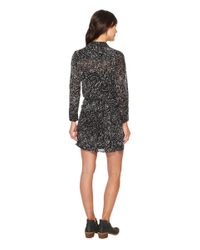Lucky Brand Printed Tie Front Dress (black Multi) Dress