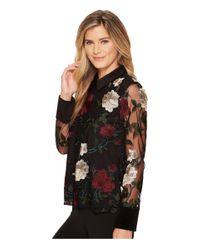 Ivanka Trump Black Embroidered Floral Velvet Collar Shirt