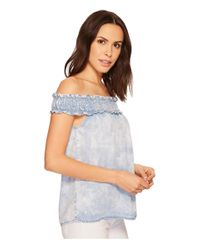 Stetson Off The Shoulder Top (blue) Clothing