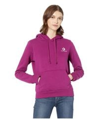 Converse Purple Embroidered Fleece Pullover Hoodie