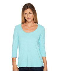 Mod-o-doc Blue Slub Jersey 3/4 Sleeve Scoopneck Tee (true Navy) Women's Long Sleeve Pullover