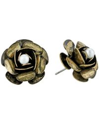 Betsey Johnson - Metallic Rose Gold And Pearl Studs Earrings - Lyst