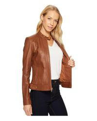 Cole Haan - Brown Leather Racer Jacket With Quilted Panels - Lyst