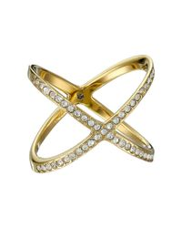 Michael Kors - Metallic Brilliance Pave X Ring - Lyst