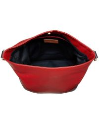 Tommy Hilfiger Red Maisie Pebble Leather Convertible Bucket