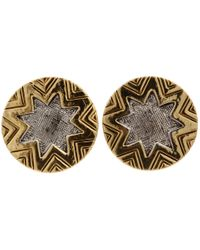 House of Harlow 1960 - Yellow Two-tone Engraved Sunburst Stud - Lyst