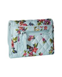 Vera Bradley Blue Iconic Rfid Riley Compact Wallet, Signature Cotton