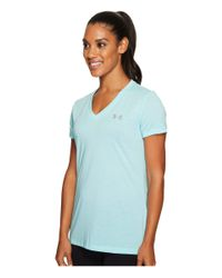 Under Armour Threadborne Train Short Sleeve V-neck Twist (blue Infinity/steel) Clothing