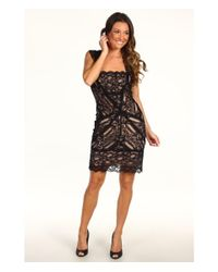 Nicole Miller | Black Stretch Lace Dress With Open Back Detail | Lyst