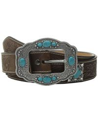 Ariat Brown Floral Embossed Turquoise Cross Concho Belt