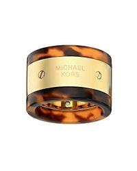 Michael Kors   Metallic Mk Logo Plaque Ring   Lyst