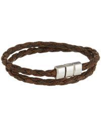 Torino Leather Company Brown Braided Leather Double Wrap Bracelet (vintage Tan) Bracelet for men