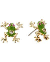 Betsey Johnson Green Jungle Book Frog Stud Earrings