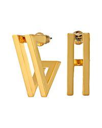 Vince Camuto | Metallic Double V Hoop Earrings | Lyst