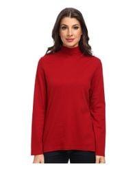 Pendleton | Red L/s Mock Neck Cotton Rib Tee | Lyst