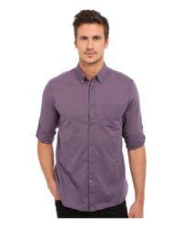 John Varvatos | Purple Roll Up Sleeve Shirt W/ Button-down Collar Single Pocket for Men | Lyst