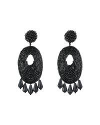 Kenneth Jay Lane | Black Oval W/ Drops Round Top Earrings | Lyst