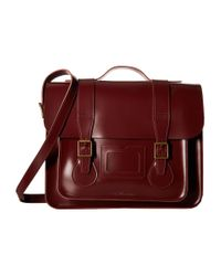 "Dr. Martens | Red 15"" Leather Satchel 