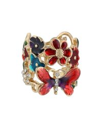Guess Multicolor Butterfly Flower Ring